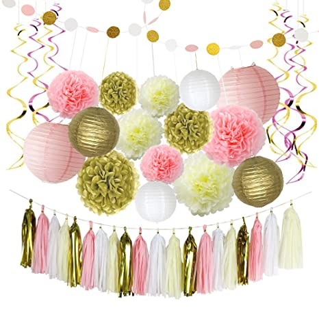 LITAUS Pink And Gold Birthday Decorations Pom Poms Flowers Paper Garland Lantern