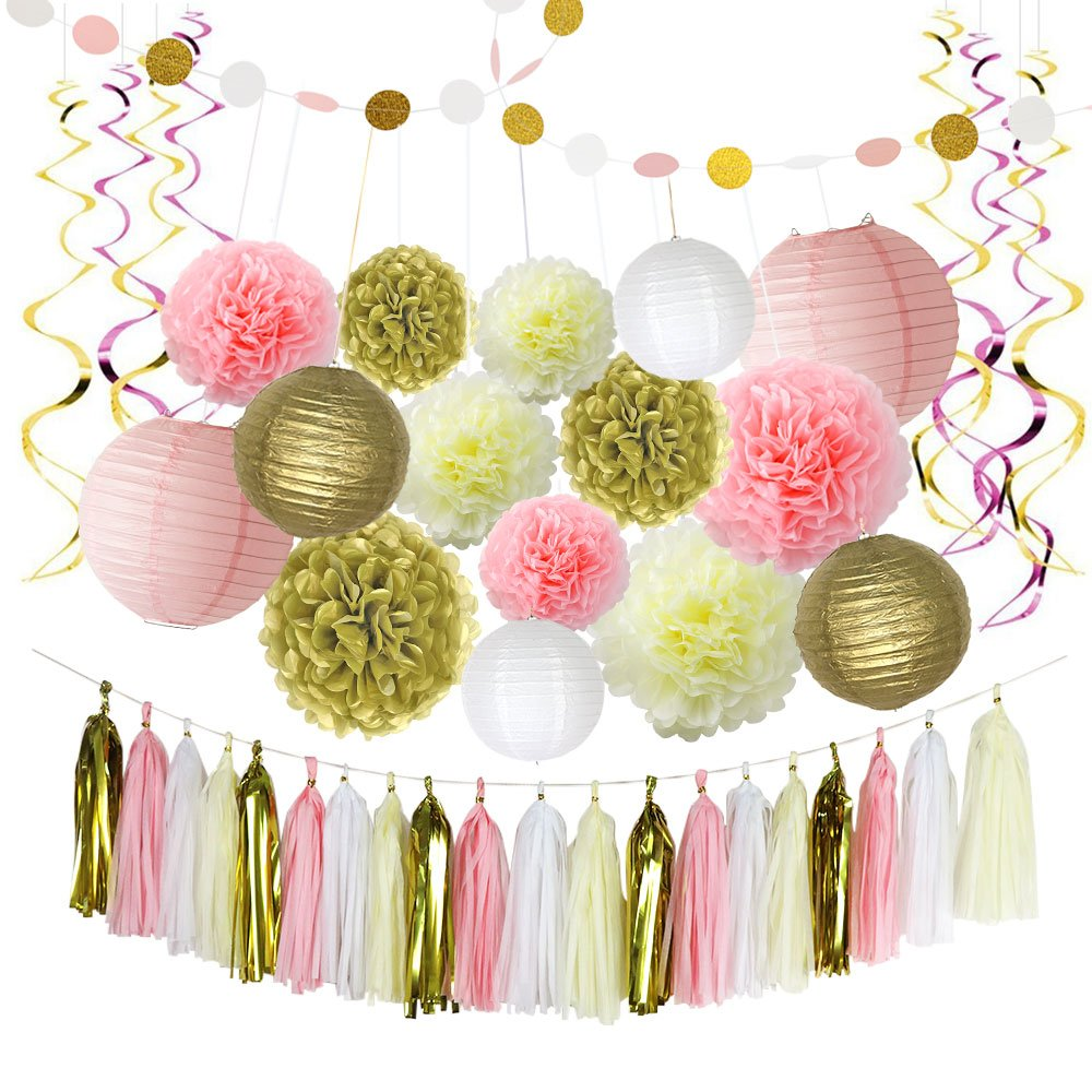 LITAUS Pink and Gold Birthday Decorations, Pom Poms Flowers, Paper Garland, Paper Lantern, Tassels, Hanging Swirl for 1st Birthday Girl Decorations Kids Birthday Bridal Shower Baby Shower