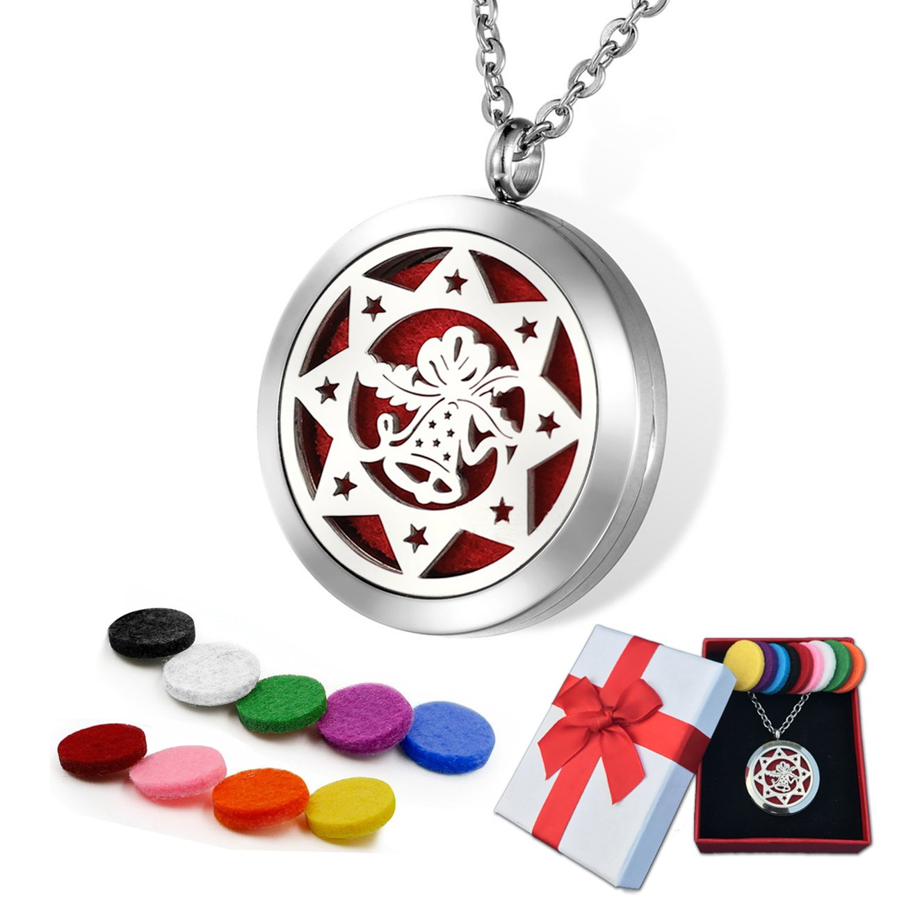 Jewelry Essential oil locket Aromatherapy Diffuser Necklace with 9 Refill Pads Holiday jewelry for women (Christmas Bells)