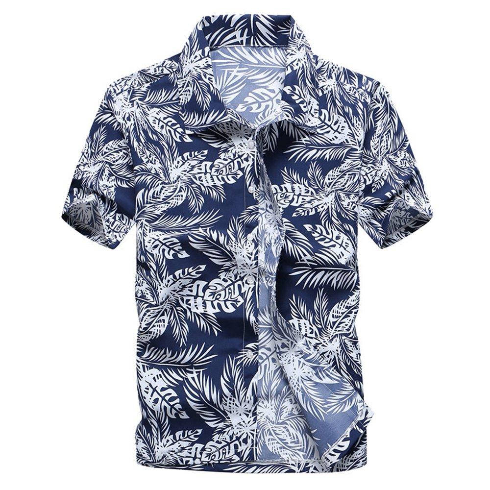 LOG SWIT Mens Hawaiian Shirt Summer New Casual Camisa Floral Printed Short Sleeve Male Beach Shirts