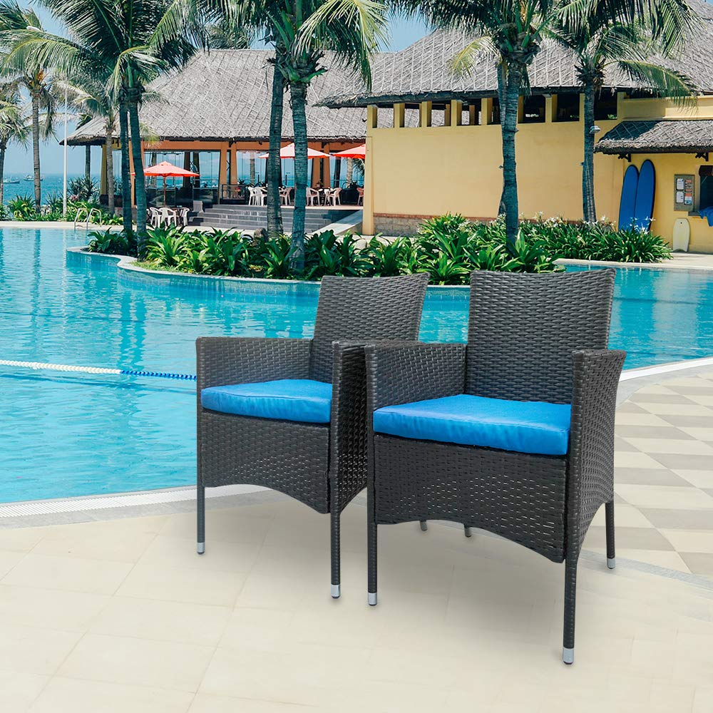 Aoxun Outdoor Bistro Set 2 Piece Black Wicker Chairs All-Weather Wicker Patio Furniture with Blue Cushions   Garden, Backyard, Porch or Pool