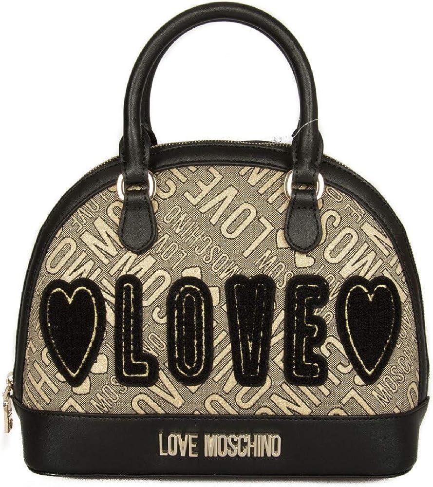 Love Moschino handbag jacquard gold calf pu nero: Amazon.it