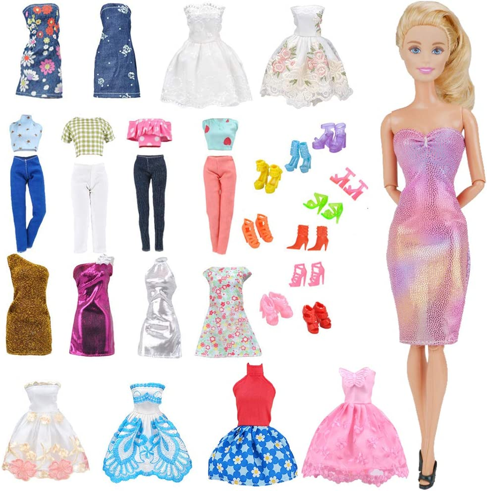 Amazon Com E Ting Lot 15 Items 5 Sets Fashion Casual Wear Clothes Outfit With 10 Pair Shoes For Girl Doll Random Style Casual Wear Clothes Short Skirt Toys Games