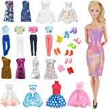 E-TING Lot 15 Items = 5 Sets Fashion Casual Wear Clothes/Outfit with 10 Pair Shoes for Girl Doll Random Style (Casual…