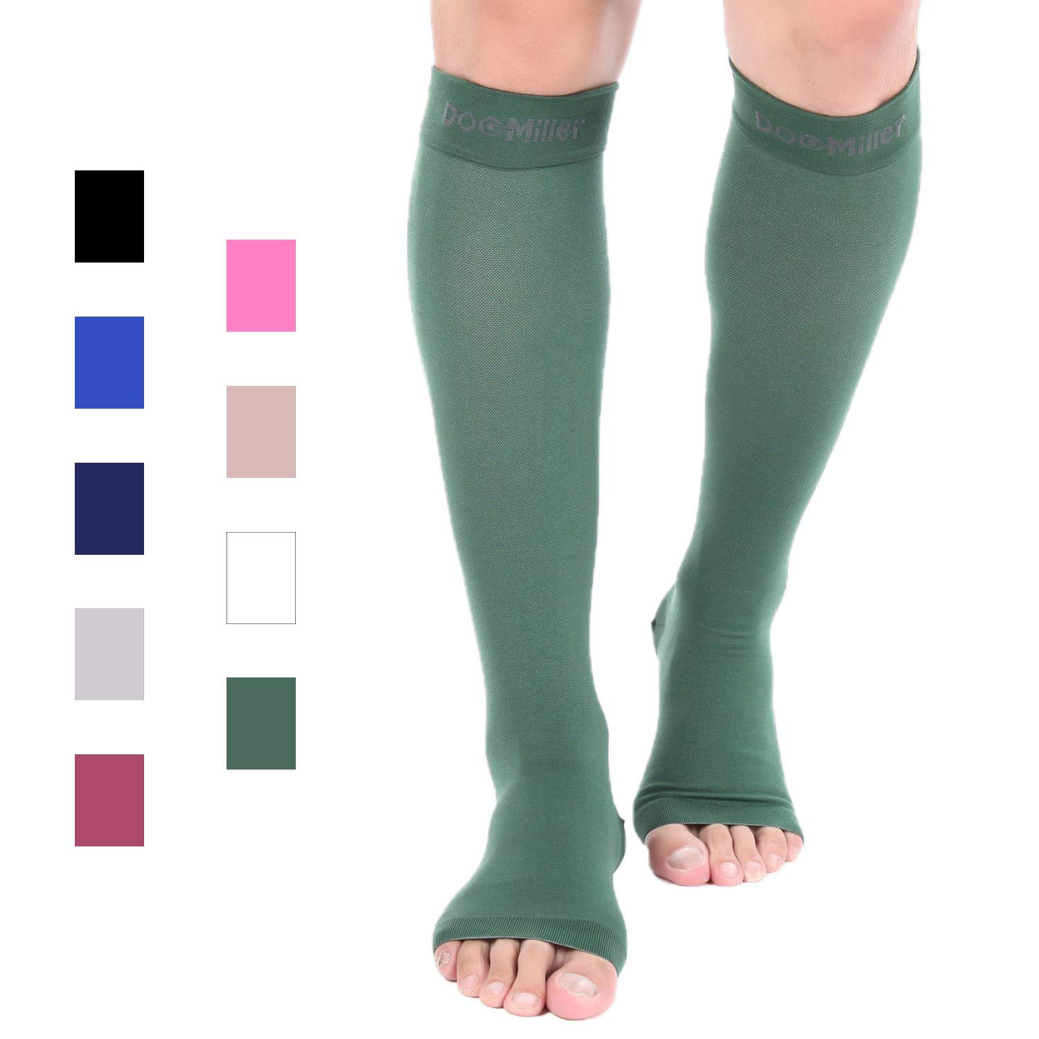 Doc Miller Premium Open Toe Compression Stockings 1 Pair 20-30mmHg Strong Support Graduated Pressure for Sports Running Muscle Recovery Shin Splints Varicose Veins (Dark Green, Open Toe, X-Large) by Doc Miller