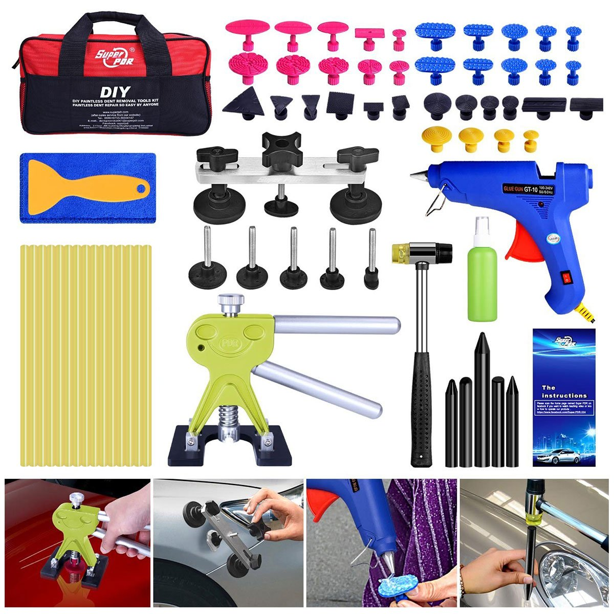 Super PDR 64pcs PDR Kits Auto Car Body Paintless Dent Repair Removal Tools Kit Door ding Remover Repair Kits dent Lifter Glue Pulling Bridge Puller Set with Tool Bag