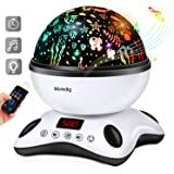 Moredig Night Light Projector Remote Control and Timer Design Projection lamp, Built-in 12 Light Songs 360 Degree Rotating 8 Colorful Lights Children Kids Gift for Birthday, Parties - Black White