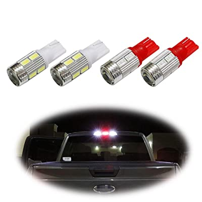 iJDMTOY (4) High Power 10-SMD 921 912 920 168 T10 LED Replacement Bulbs Compatible With Chevrolet Ford GMC Honda Nissan Toyota Truck 3rd Brake Lamp (Two Xenon White, and Two Brilliant Red): Automotive