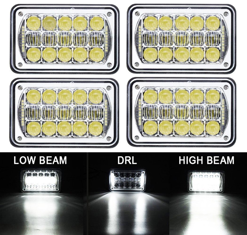 COWONE 4Pcs 60W Cree Brightest 4X6'' inch Chrome Rectangular LED Headlights Replacement for H4651 H4652 H4656 H4666 H4668 H6545 Kenworth T800 T400 T600 Peterbilt 357 378 379 FREIGHTLINER 112 120 by COWONE