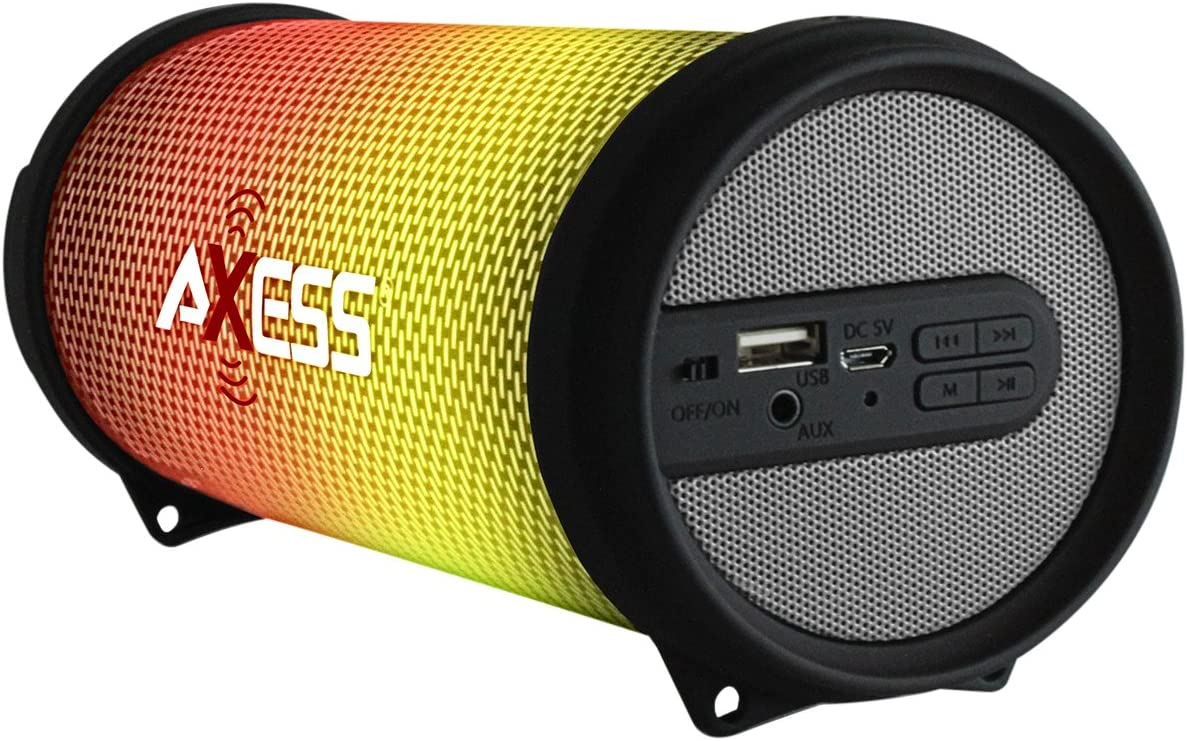 AXESS SPBL1043 Mini Portable Bluetooth Hi-Fi Bluetooth Speaker with Dancing LED Lights, Silver