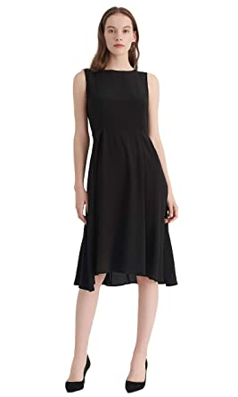 0a6455c6ebd0 LILYSILK Silk Little Black Dress for Women Classic Vintage Round Neck Pure  Mulberry Silk 16MM Tunic Flare Party Black XXL: Amazon.co.uk: Clothing