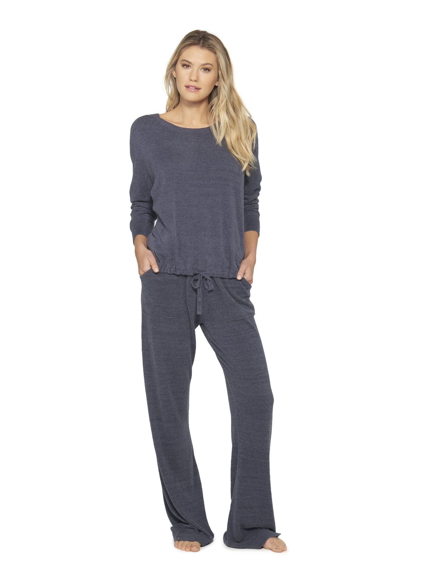 Barefoot Dreams Cozychic Ultra Lite Slouchy Pullover for Women, Ultra Soft Long Sleeve, Crew Neck, Pacific Blue Pullover