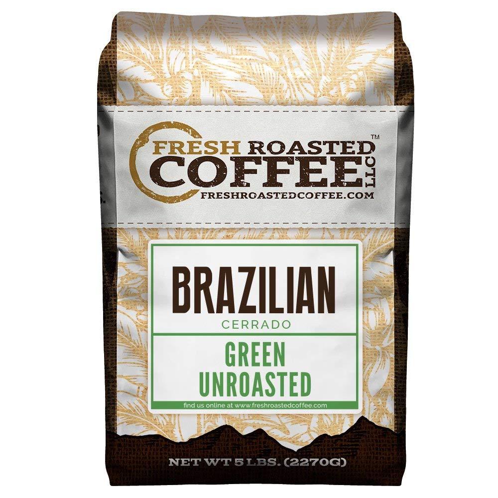 Fresh Roasted Coffee LLC, Green Unroasted Brazilian Cerrado Coffee Beans, 5 Pound Bag by FRESH ROASTED COFFEE LLC FRESHROASTEDCOFFEE.COM