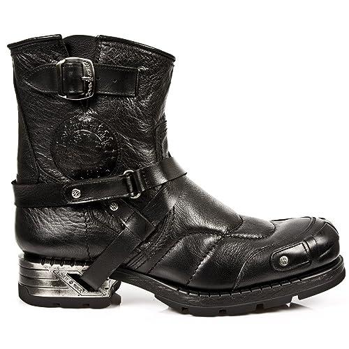 New Rock M.MR004-S1 Botas Botines Hombre Caballero Negro Cuero Piel Tacón Heavy Motorista Motero Urbano: Amazon.es: Zapatos y complementos