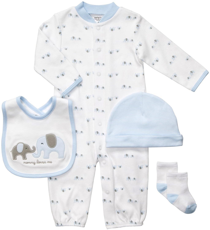 Amazon Carter s 4 Piece Layette Set Blue Elephants Infant