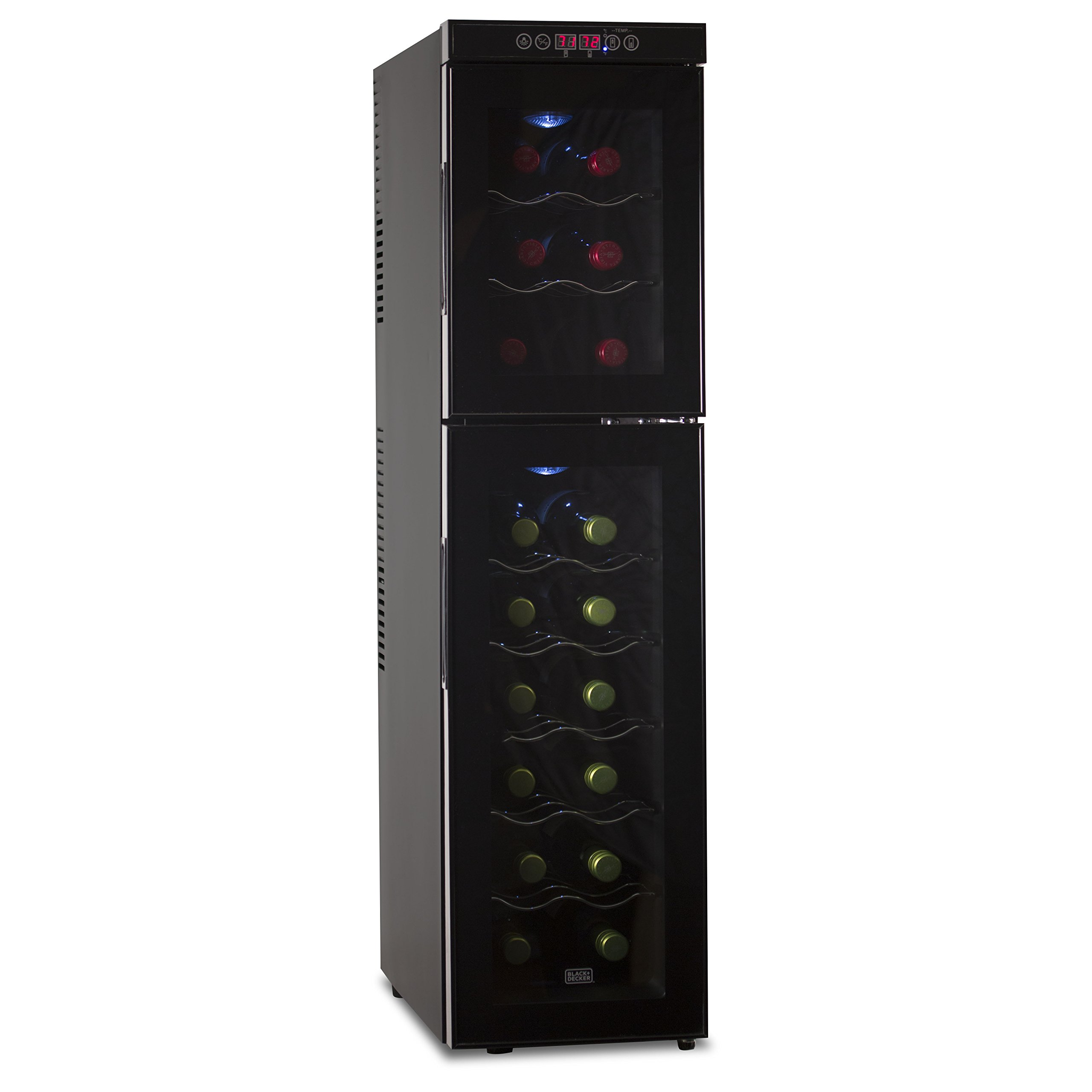 BLACK+DECKER 18 Bottle Capacity Dual Zone Thermoelectric Wine Cellar - Electronic Touch Controls & LED Display - Black Cabinet with UV Glass Door & Interior Light - BWTD18TB