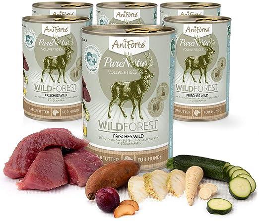 Comida Húmeda para Perros Sin Cereales | 88,2% Carne de Venado Wild Forest (6 x 400g) | Sin Granos Ni Conservantes | Dieta Barf | AniForte