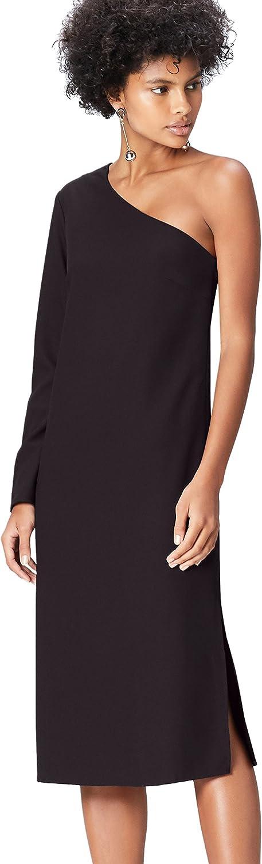 TALLA 46 (Talla del fabricante: XX-Large). Marca Amazon - find. Vestido Midi con un Hombro al Aire Mujer Negro (Schwarz) 46 (Talla del fabricante: XX-Large)