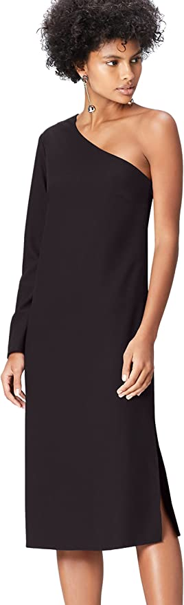 TALLA 44 (Talla del Fabricante: X-Large). Marca Amazon - find. Vestido Midi con un Hombro al Aire Mujer Negro (Schwarz) 44 (Talla del fabricante: X-Large)