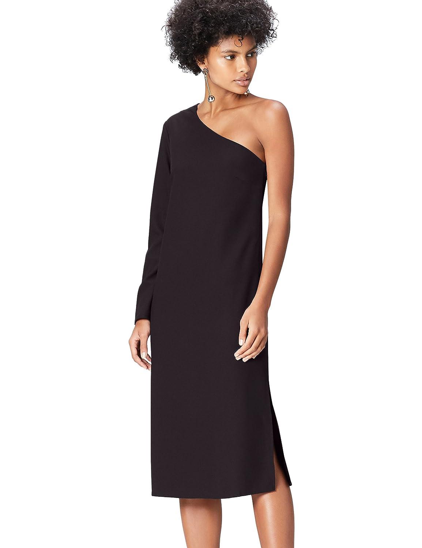 TALLA 36 (Talla del fabricante: X-Small). Marca Amazon - find. Vestido Midi con un Hombro al Aire Mujer Negro (Schwarz) 36 (Talla del fabricante: X-Small)