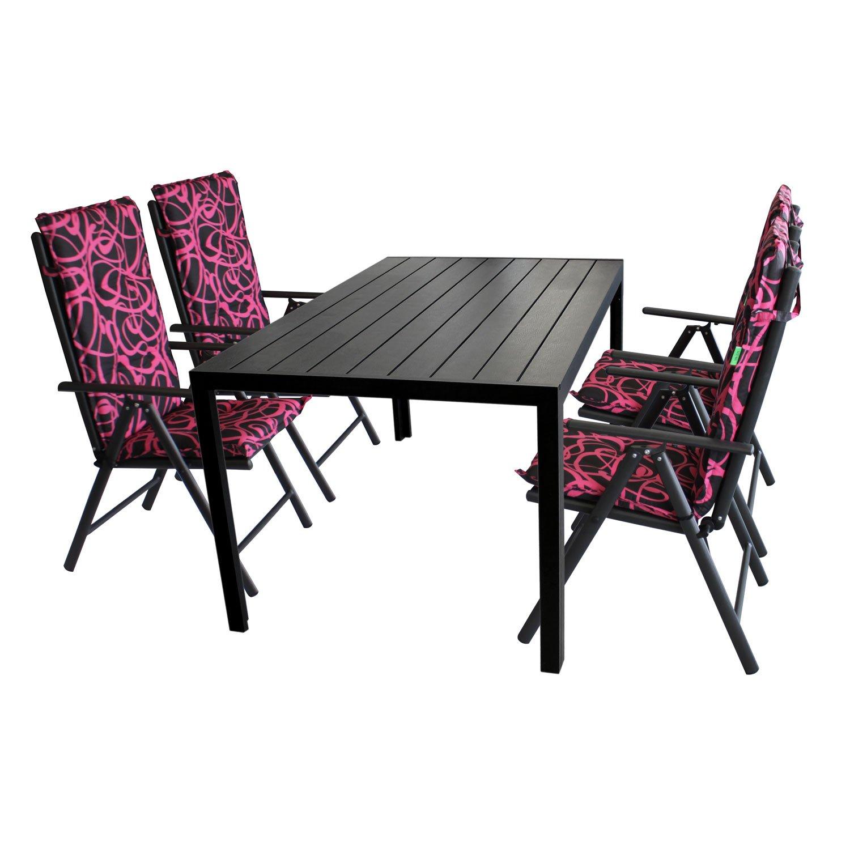 Gartengarnitur Gartentisch, Polywood Tischplatte Schwarz, Aluminiumrahmen, 150x90cm + 4x Hochlehner, Aluminiumgestell, Textilenbespannung Schwarz + 4x Polsterauflage New Orleans
