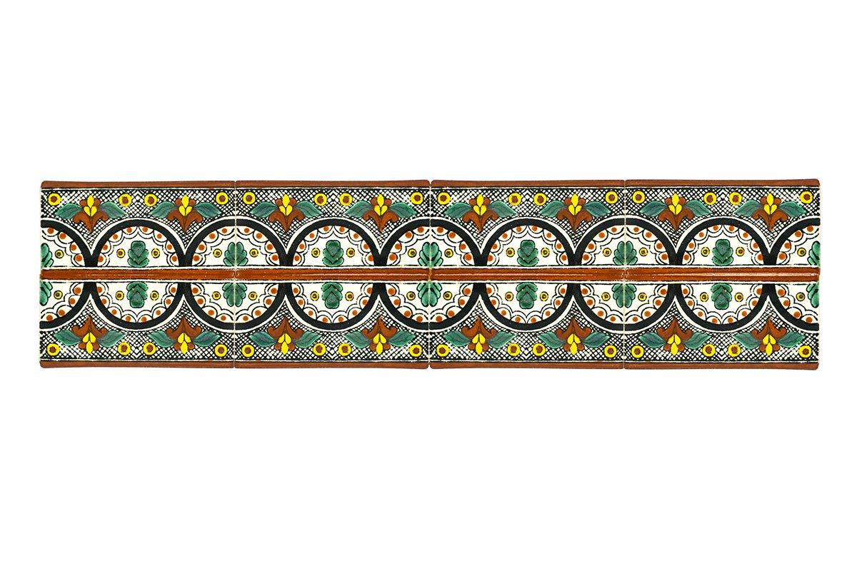 Keramik handgefertigt mexikanische Fliesen 5x10cm Cenefa de Cortes Fair Trade