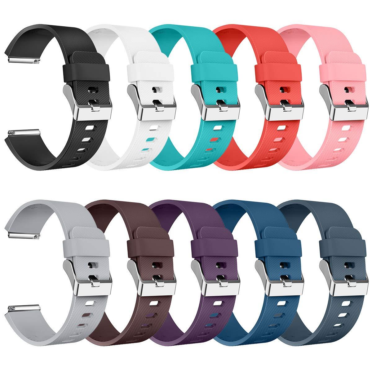 AIUNIT Compatible Fitbit Blaze Bands Large, Replacement for Fitbit Blaze Accessories Wristband Watch Sport Strap for Fitbit Blaze Smart Tracker Women Men Teends Stripe Texture 10 Pack No Tracker