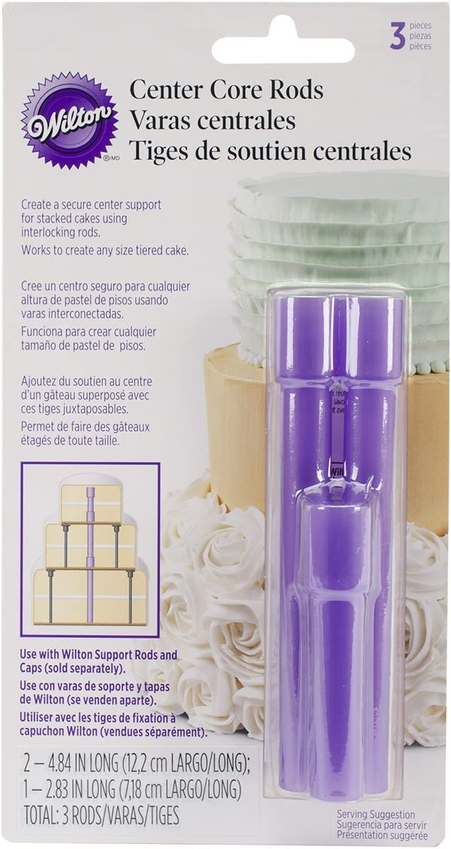 Wilton 399-5003 3-Piece Center Core Cake Rods, Purple