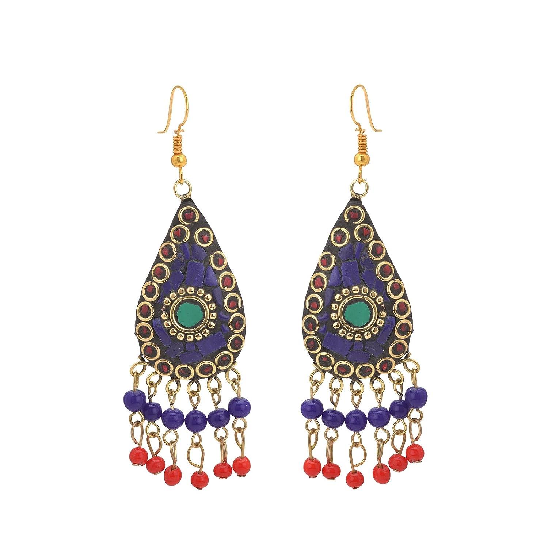 Oreleaa Earrings Tibetan Dangle /& Drop Hook Inlay Work For Women and Girls