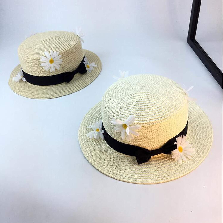 50-52cm Parent-Child Cap Summer Boater Casual Panama Hat Bowknot Straw Flat Sun Hat,5,Child Size