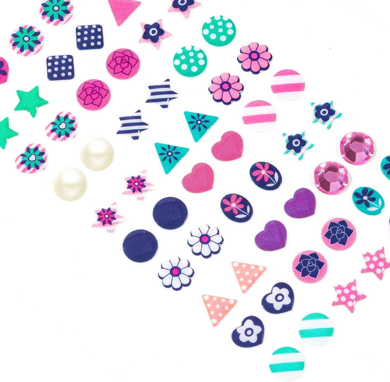 3D Gems Girls Sticker Earrings Self-Adhesive Glitter Craft Crystal Stickers KXCOFTXI 240 Piece Sticker Earrings for Girls