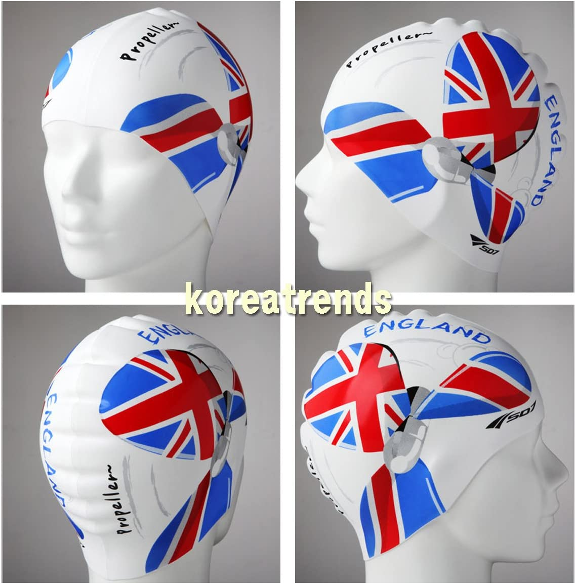 England Flag Propeller Image Silicone Swimming Head Cap