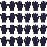 QKURT 12 Packs Winter Magic Gloves for Kids,Full Fingers Winter Stretch Gloves