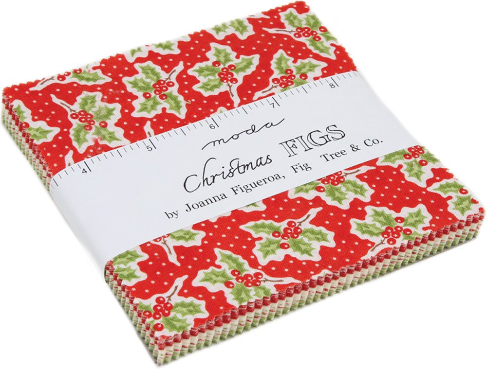 Christmas Figs Charm Pack by Joanna Figueroa of Fig Tree Quilts; 42-5 Precut Fabric Quilt Squares United Notions 20310PP