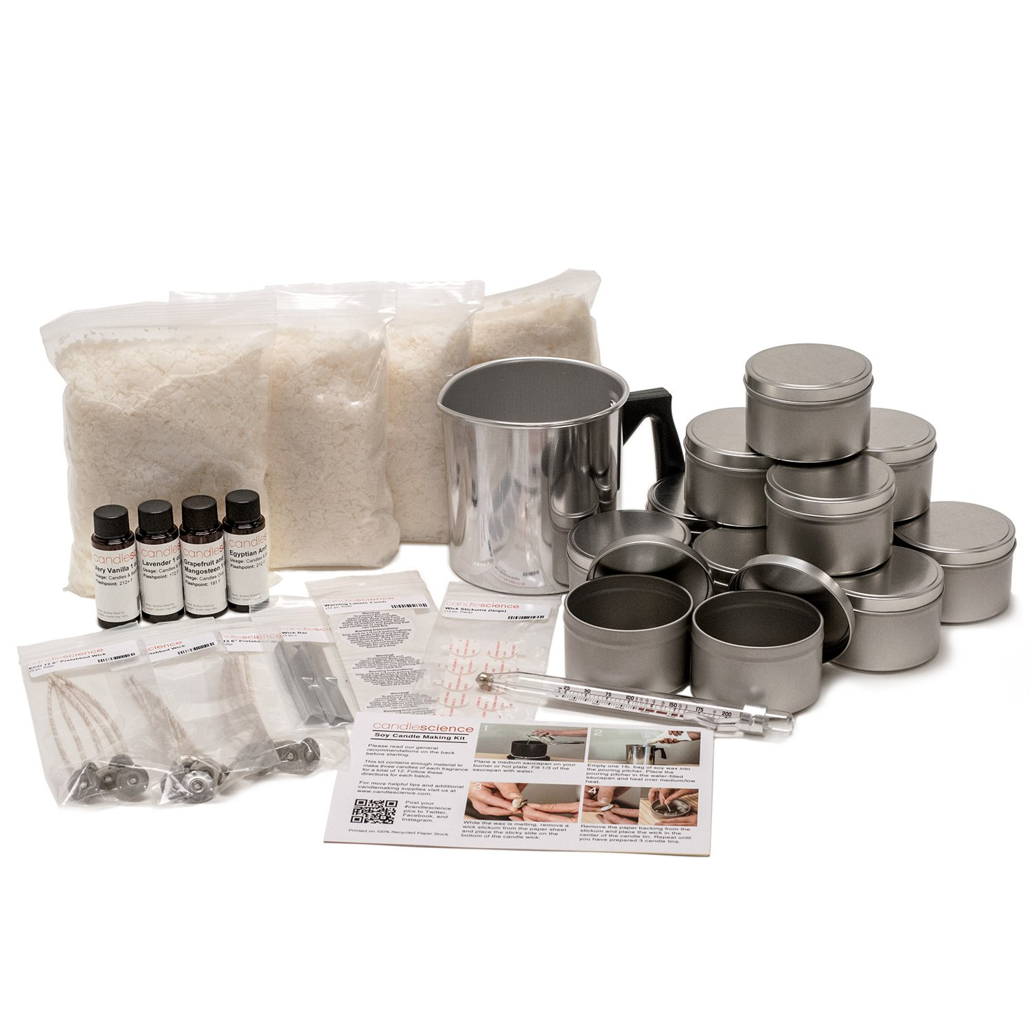 CandleScience Soy Candle Making Starter Kit (Up to 12 Candles) – DIY Kit Contains Soy Wax Pot Wicks and Thermometer – No Experience Necessary