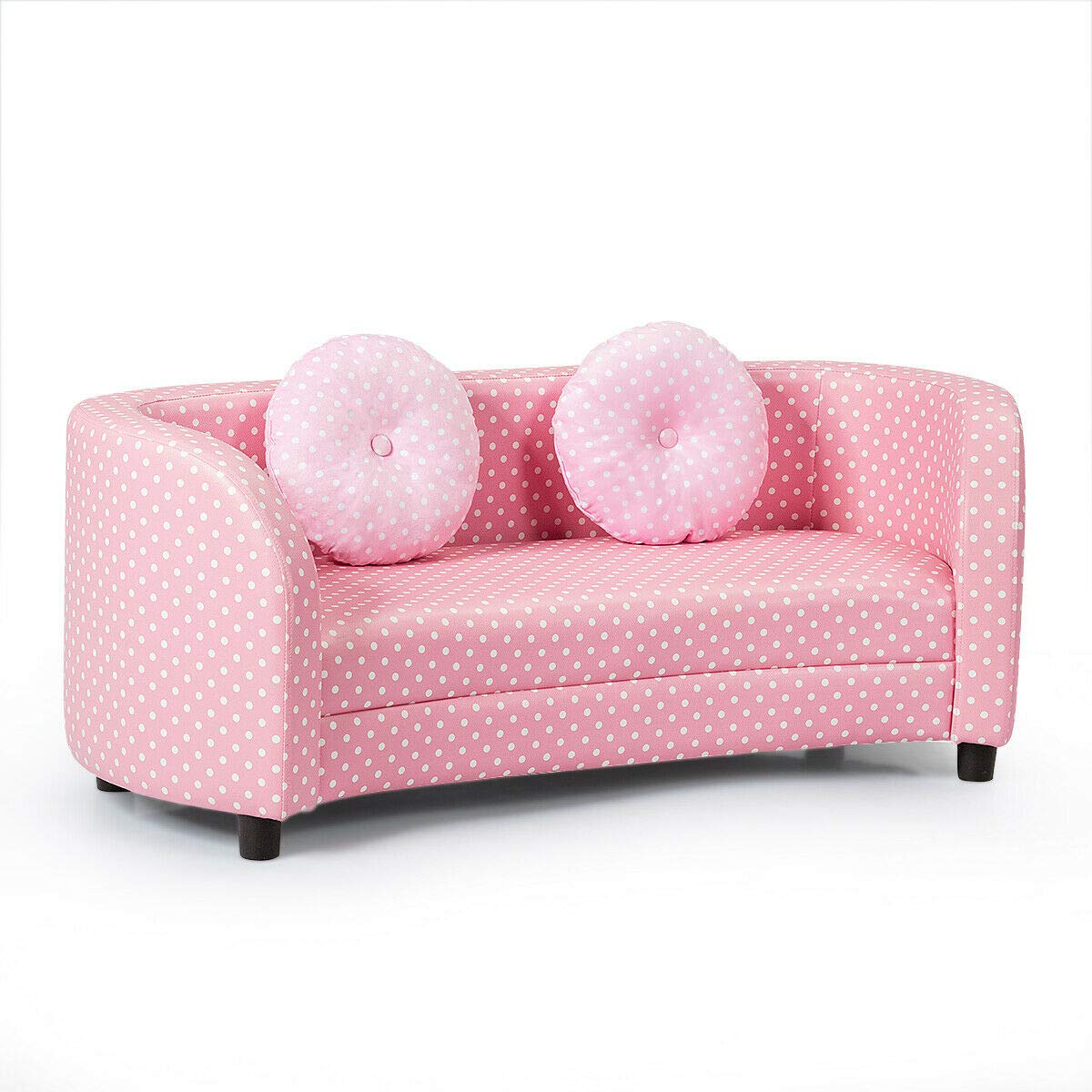 Pink 2-Seat Children Girls Armrest Chair Loveseat Kids Sofa w/Cloth Pillows with Ebook