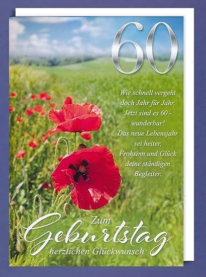 Riesen 60 Geburtstag Karte Grußkarte Mohn Blumen Glückwunsch
