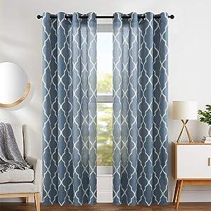 jinchan Curtains Print 84 inch Lattice Moroccan Tile Flax Linen Blend Curtain Textured Grommet Quatrefoil Window Treatment Set for Living Room Kitchen Blue Set of 2 Panels