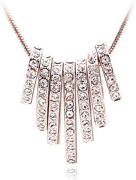 Quadiva E! Necklace for Woman with a Seven-Ovals-Pendant (Colour: Rose Gold) Embellished with Sparkling Crystals from Swarovski®: Amazon.co.uk: Jewellery
