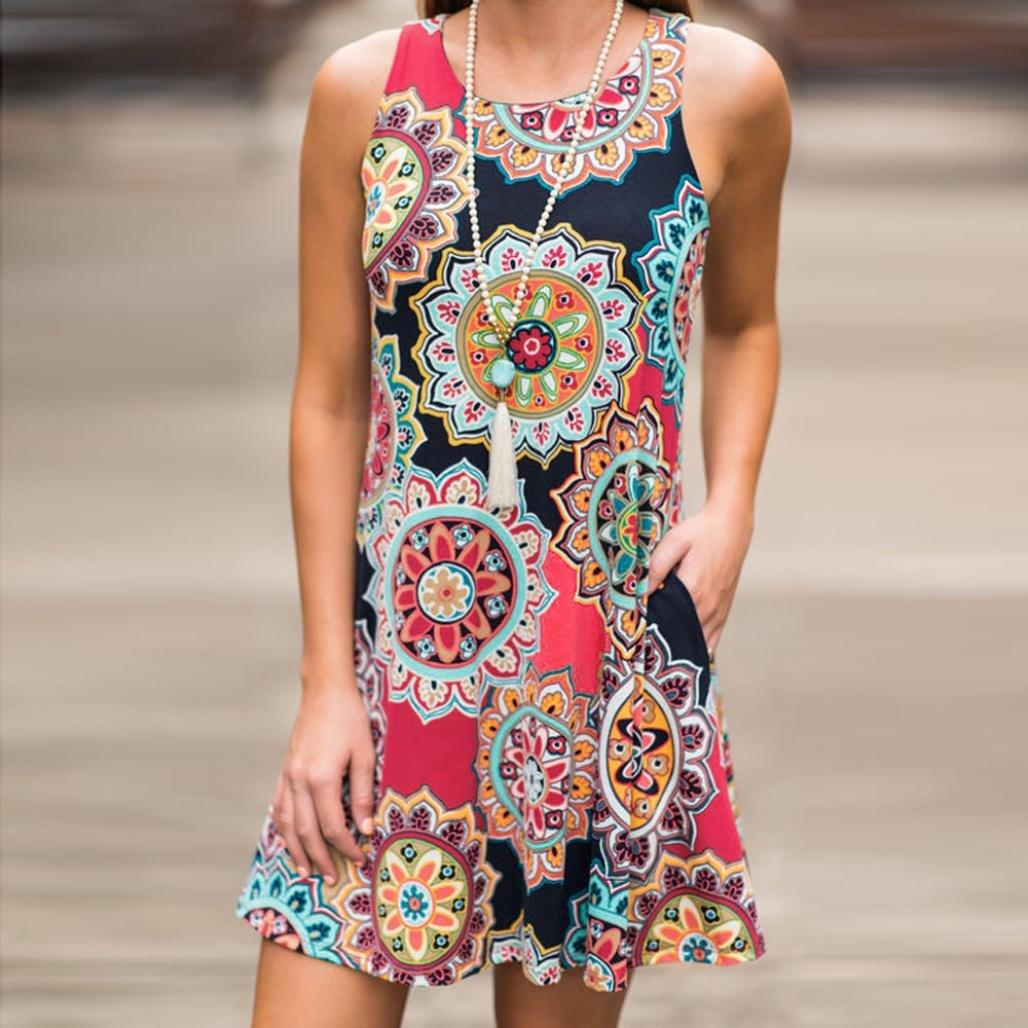 89373caad135ae OHQ Damen Maxikleider Sommerkleider Vintage Boho Blumen Kleid Neckholder  Printkleider Partykleider Strandkleider Minikleid: Amazon.de: Bekleidung