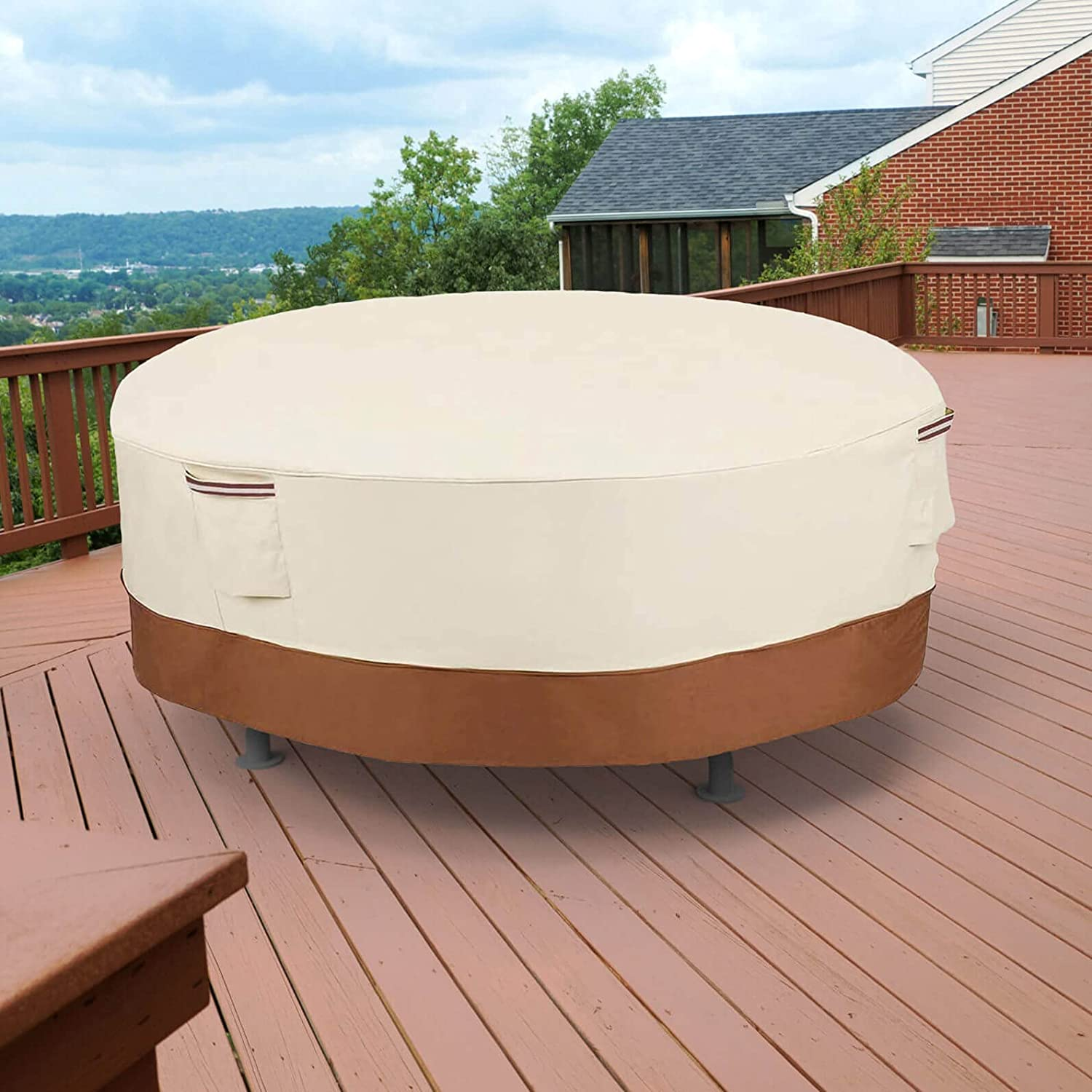 Patio Table Covers Waterproof Round, Patio Table Covers Furniture Covers Outdoor UV Resistant Anti-Fading for Round Table Chairs Sets, 76