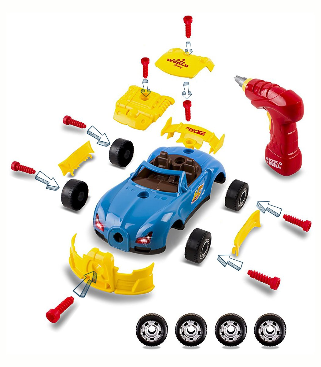 CoolToys Custom Take-A-Part Car Playset – Sports Car with Electric Play Drill and 30 Car Modification Pieces – Motion Activated Lights and Sounds by CoolToys (Image #3)