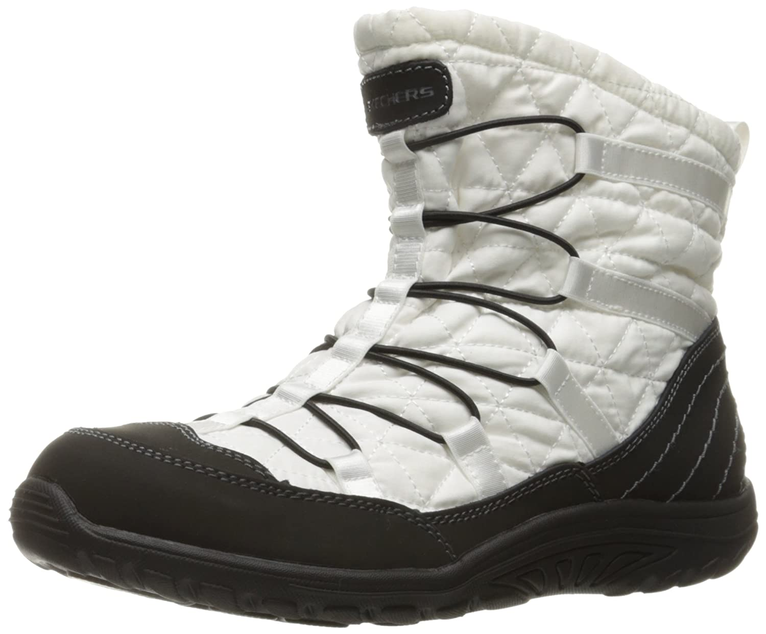 Skechers Womens Reggae Fest Steady Quilted Bungee Ankle Bootie  10 B(M) US|White/Black