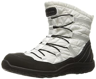 Skechers Women's Reggae Fest Steady Quilted Bungee Ankle Bootie,White/Black,10  M