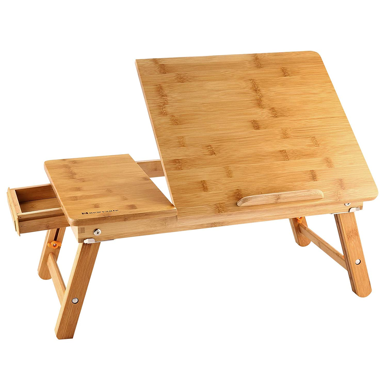 Lapdesk Left Handed NNEWVANTE Adjustable Laptop Table for Bed Breakfast Serving Tray Fold Flat w Tilting Top Drawer Leg Lock