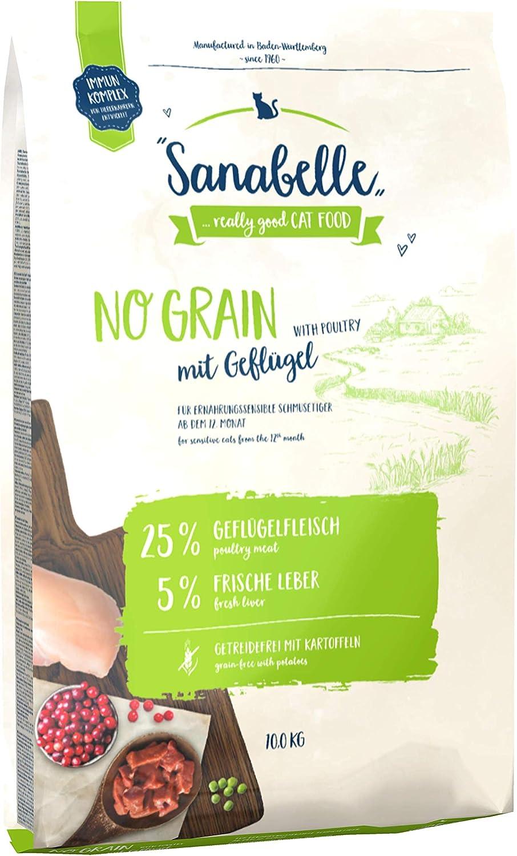 Sanabelle No Grain | Con Aves de corral frescas | Sin Cereales | Comida seca para gatos nutricionalmente sensibles