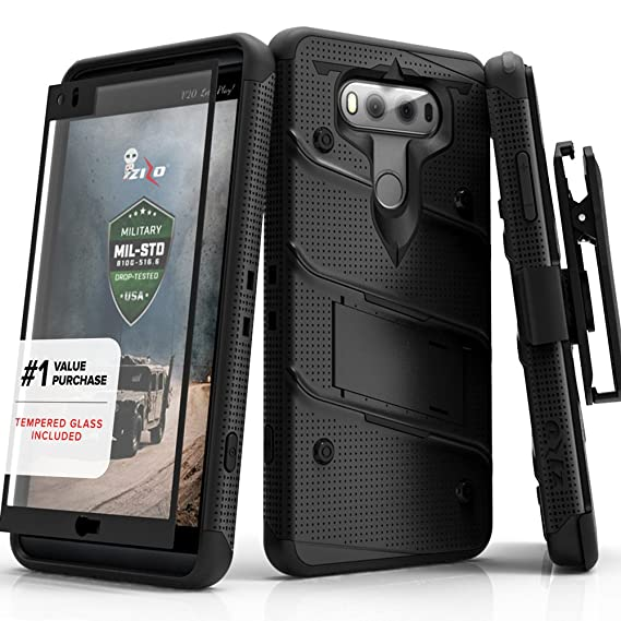 new arrival 46ee6 afe14 LG V20 Case, Zizo [Bolt Series] with FREE [LG V20 Screen Protector]  Kickstand [12 ft. Military Grade Drop Tested] Holster Belt Clip - Case for  LG V20 ...