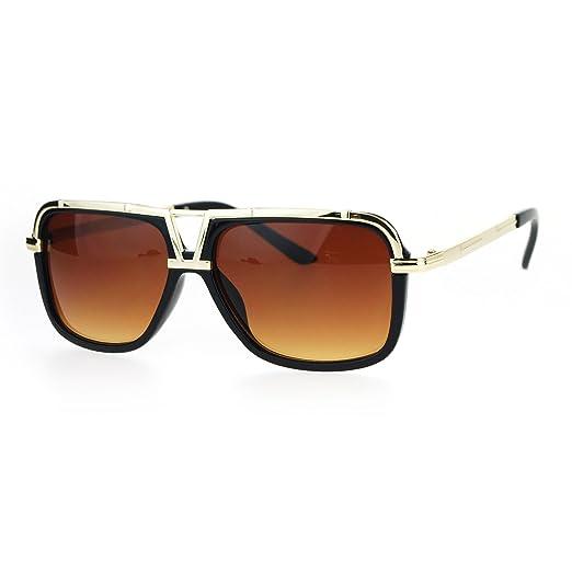 25f648a62fe4 Mens Designer Fashion Sunglasses Flat Metal Top Square UV 400 Black Gold