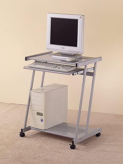 Amazoncom Computer Desk With Keyboard Tray And Casters Silver