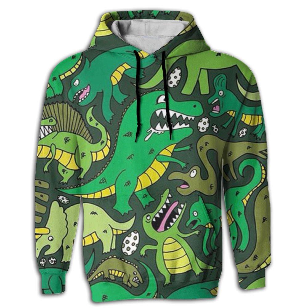 QQMIMIG Unisex Green Dinosaur 3D Printed Pullover Long Sleeve Fleece Hooded Sweatshirts with Pockets